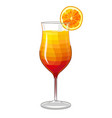 isolated tequila sunrise cocktail in cartoon style vector image