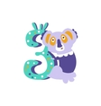 Koala Standing Next To Number Three Stylized Funky vector image vector image