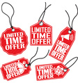 Limited time offer red tag set vector image vector image