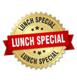 lunch special round isolated gold badge vector image vector image
