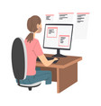 man as software developer or programmer engaged in vector image