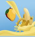mango and banana fruit splash on blue background vector image