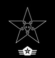 minimal monochrome vintage star with skull and vector image vector image