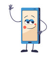 mobile phone with face waving hand smartphone vector image
