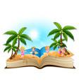 open book with cartoon happy children on the beach vector image