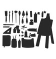 painting art tools palette silhouette vector image