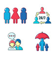 people icon set cartoon style vector image