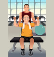 personal trainer training an elderly man vector image vector image