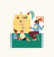 preschool education children sitting in class room vector image