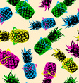 Retro hipster summer pattern with color pineapple vector image vector image