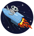 robot on the space rocket vector image vector image