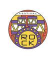 rock festival logo template emblem in line style vector image