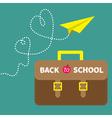 Schoolbag briefcase and paperplane dash line heart vector image