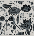 seamless pattern with hand drawn stylized viburnum vector image