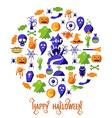 set happy halloween icons vector image vector image
