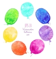 set multicolored balloons painted in watercolor vector image
