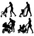 set silhouettes walkings mothers with baby vector image vector image