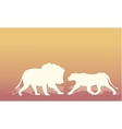 Silhouette of two lion vector image
