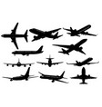 silhouettes airplanes vector image