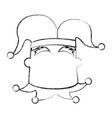 sketch draw jester face cartoon vector image vector image
