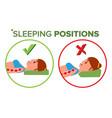 sleeping position correct spine sleeping vector image