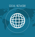 social network with planet and sphere vector image vector image