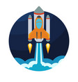 space rocket ship launch in circle vector image vector image