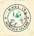 Stamp with map flag of Norfolk Island vector image