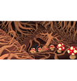 Underground with roots and mushrooms vector image vector image