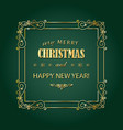 vintage christmas golden frame merry christmas vector image