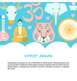 visit india colorful concept banner in flat style vector image