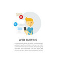 web surfing guy with a phone vector image vector image