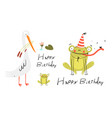 white bird and frog happy birthday congratulation vector image