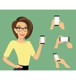 Woman showing something displayed on smartphone vector image vector image