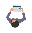 woman writing on notepad topview icon image vector image