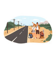 young happy couple with backpacks standing near vector image vector image
