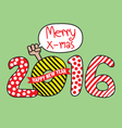 Happy New Year 2016 Hand Draw Style vector image
