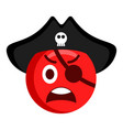 angry pirate emoji with a hat vector image vector image