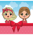 beautiful girls with clouds and bown ribbon vector image vector image