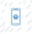 blue shopping basket on screen smartphone line vector image vector image