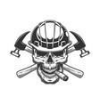 builder skull smoking cigar vector image vector image