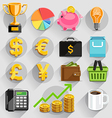 business flat icons color set vector image vector image