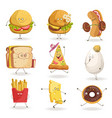 cheerful fast food cartoon characters with human vector image vector image