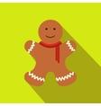 Christmas gingerbread man flat icon vector image