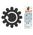 Cog Rotation Icon With 2017 Year Bonus Symbols vector image vector image