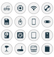 computer icons set with video camera sd card vector image
