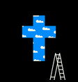 cross with clouds in blue sky and stepladder vector image vector image