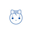 cute girly emoji line icon concept cute girly vector image