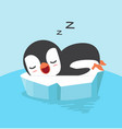 cute penguin sleep on ice floe vector image vector image