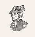 duke or antique victorian man with feather hat vector image vector image